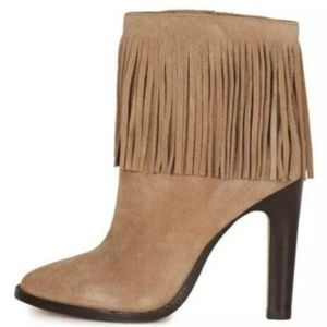 Joie Cambrie Tan Fringe Ankle Heel Boots sz 38